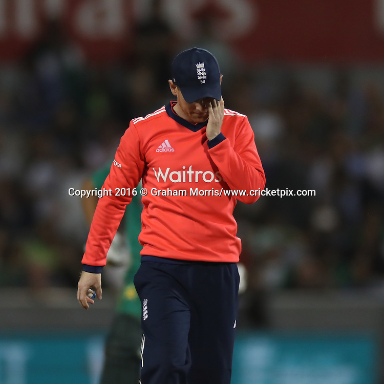 Eion Morgan of England dejected.<br /> England v Pakistan, only T20 at Manchester, England. 7 September 2016.<br /> Pakistan won by 9 wickets (with 31 balls remaining).<br /> Copyright photo: Graham Morris / www.photosport.nz