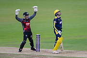 Ryan Davies of Somerset celebrates the wicker of Liam Dawson of Hampshire during the Royal London One Day Cup match between Hampshire County Cricket Club and Somerset County Cricket Club at the Ageas Bowl, Southampton, United Kingdom on 2 August 2016. Photo by David Vokes.