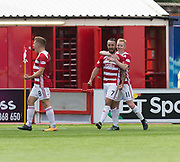 12th August 2017, SuperSeal Stadium, Hamilton, Scotland; SL Football league Hamilton Academicals versus Dundee; Hamilton's Dougie Imrie is congratulated after scoring by Ali Crawford