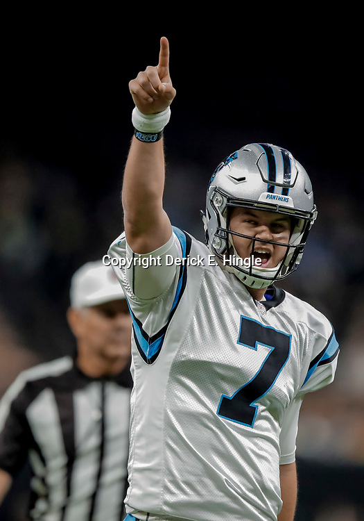 Dec 30, 2018; New Orleans, LA, USA; Carolina Panthers quarterback Kyle Allen (7) celebrates after a touchdown against the New Orleans Saints during the second quarter at the Mercedes-Benz Superdome. Mandatory Credit: Derick E. Hingle-USA TODAY Sports