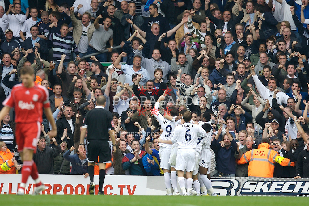 Liverpool, England - Sunday, October 7, 2007: Tottenham Hotspur's supporters celebrate Robbie Keane's second goal against Liverpool during the Premiership match at Anfield. (Photo by David Rawcliffe/Propaganda)