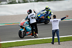 November 17, 2019, Cheste, VALENCIA, SPAIN: Fabio Di Giannantonio, rider of Beta Tools Speed Up from Italy, celebrates after the MotoGP Race of the Valencia Grand Prix of MotoGP World Championship celebrated at Circuit Ricardo Tormo on November 16, 2019, in Cheste, Spain. (Credit Image: © AFP7 via ZUMA Wire)