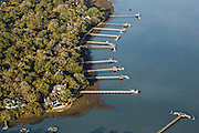 Aerial view of luxury homes hand docks in Kiawah Island, SC.