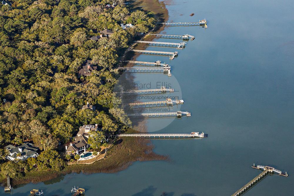 Aerial view of luxury homes hand docks in Kiawah Island, SC.