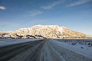 Sheep Mountain along the Alaska Highway near Kluane Lake and Kluane National Park in the Yukon Territory in Canada. Winter. Morning.