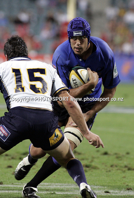 Force's Captain Nathan Sharp runs for the try line during the opening round of the 2006 Super 14 rugby union match between the Western Force and ACT Brumbies at Subiaco Oval, Perth, Western Australia, on Friday 10 February, 2006.  Final score was Western Force 10 - AC Brumbies 25.  Photo: Christian Sprogoe/PHOTOSPORT