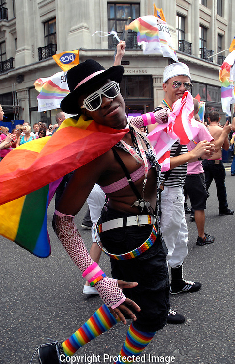 Gay and lesbian participants in London's Gay Pride March / carnival through streets of central London Summer 2008