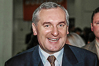 Bertie Ahern, Fianna Fail, TD, Prime Minister (Taoiseach), Rep of Ireland, at Ard Fheis (party conference). 199811078.<br />