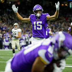 Aug 9, 2019; New Orleans, LA, USA; Minnesota Vikings wide receiver Brandon Zylstra (15) reacts as wide receiver Bisi Johnson (81) catches a touchdown against the New Orleans Saints during the second quarter at the Mercedes-Benz Superdome. Mandatory Credit: Derick E. Hingle-USA TODAY Sports