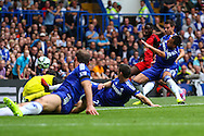 Nathan Dyer of Swansea City (far) scores the opening goal during the Barclays Premier League match at Stamford Bridge, London<br /> Picture by David Horn/Focus Images Ltd +44 7545 970036<br /> 13/09/2014