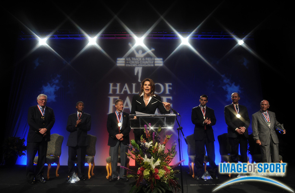 Dec 16, 2009; Orlando, FL, USA; Lisa Malosky introduces the 2009 USTFCCCA Hall of Fame inductees at the USTFCCCA Convention.