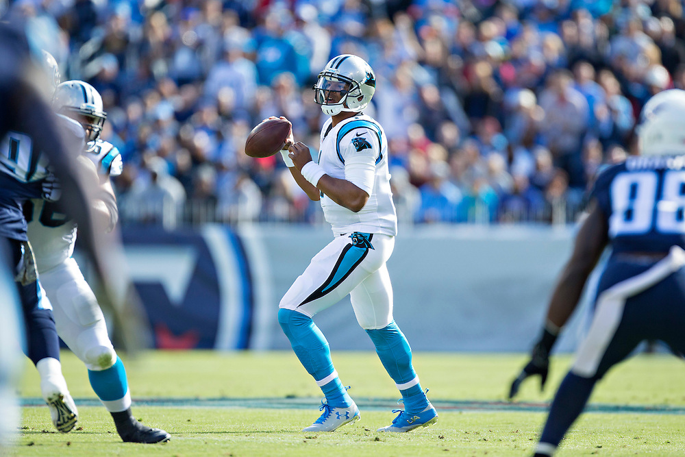 NASHVILLE, TN - NOVEMBER 15:  Cam Newton #1 of the Carolina Panthers drops back to pass during a game against the Tennessee Titans at Nissan Stadium on November 15, 2015 in Nashville, Tennessee.  (Photo by Wesley Hitt/Getty Images) *** Local Caption *** Cam Newton