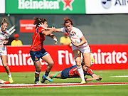 England's Joanne Watmore breaks a tackle during the Emirates Dubai rugby sevens match between England  and Spain  at the Sevens Stadium, Al Ain Road, United Arab Emirates on 1 December 2016. Photo by Ian  Muir.*** during the Emirates Dubai rugby sevens match between *** and ***  at the Sevens Stadium, Al Ain Road, United Arab Emirates on 1 December 2016. Photo by Ian  Muir.