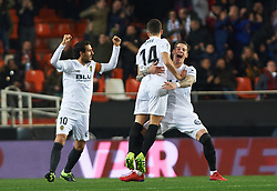 January 26, 2019 - Valencia, Valencia, Spain - Valencia CF players celebrates a goal after revision of VAR during the La Liga Santander match between Valencia and Villarreal at Mestalla Stadium on Jenuary 26, 2019 in Valencia, Spain. (Credit Image: © Maria Jose Segovia/NurPhoto via ZUMA Press)