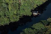 Houseboat on River<br /> Potaro-Siparuni Region<br /> Brazil Guyana border<br /> GUYANA<br /> South America