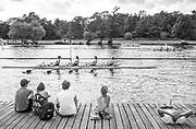 Henley. Berks, United Kingdom. <br /> <br /> Spectators, on the slipway at Upper Thames RC. 2017 Henley' Women's Regatta. Rowing on, Henley Reach. River Thames. <br /> <br /> <br /> Saturday  17/06/2017<br /> <br /> <br /> [Mandatory Credit Peter SPURRIER/Intersport Images]