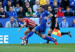 Pierre-Emile Hojbjerg of Southampton is tackled by Christian Fuchs of Leicester City - Mandatory by-line: Robbie Stephenson/JMP - 02/10/2016 - FOOTBALL - King Power Stadium - Leicester, England - Leicester City v Southampton - Premier League