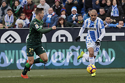 February 10, 2019 - Madrid, Madrid, Spain - CD Leganes's Martin Braithwaite and Real Betis Balompie's Giovani Lo Celso during La Liga match between CD Leganes and Real Betis Balompie at Butarque Stadium in Madrid, Spain. February 10, 2019. (Credit Image: © A. Ware/NurPhoto via ZUMA Press)
