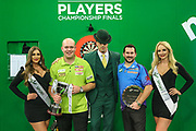 Michael van Gerwen and Jonny Clayton with their trophies during the PDC Darts Players Championship at  at Butlins Minehead, Minehead, United Kingdom on 26 November 2017. Photo by Shane Healey.