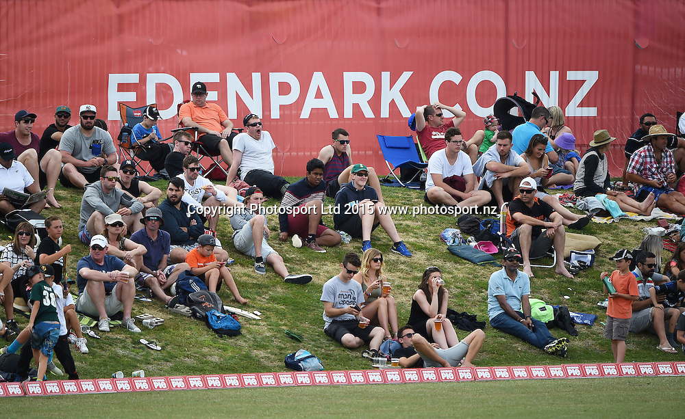 General view of the fans during the Georgie Pie Super Smash Twenty20 Cricket match. Auckland Aces v Wellington Firebirds. Eden Park Outer Oval. Auckland, New Zealand. Sunday 6 December 2015. Copyright photo: Andrew  Cornaga / www.photosport.nz