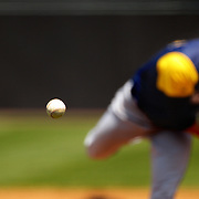 The baseball in mid flight from a pitcher during the Bridgeport Bluefish V York Revolution, Atlantic League, Minor League ballgame at Harbor Yard Ballpark, Bridgeport, Connecticut, USA. Photo Tim Clayton