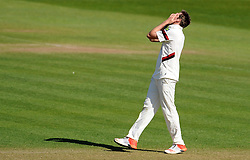 Dejection for Somerset's Jamie Overton - Photo mandatory by-line: Harry Trump/JMP - Mobile: 07966 386802 - 14/04/15 - SPORT - CRICKET - LVCC County Championship - Day 3 - Somerset v Durham - The County Ground, Taunton, England.