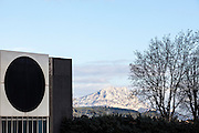 Outside view of Vasarely foundation in Aix-en-Provence, France with Sainte Victoire mountain in the background.