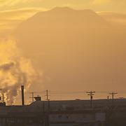 Silhouette of Mount Rainier at dawn - Port of Tacoma, WA