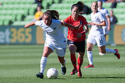 MELBOURNE, VIC - MARCH 06: Annalie Longo (10) of New Zealand competes for the ball during The Cup of Nations womens soccer match between New Zealand and Korea Republic on March 06, 2019 at AAMI Park, VIC. (Photo by Speed Media/Icon Sportswire)