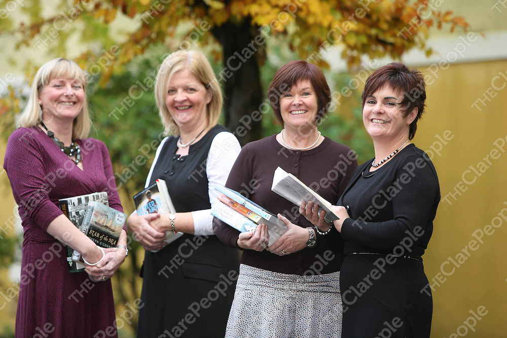Announcing details of program lineup for the Ennis Book Club Festival 2010 which will run from 5th to 7th March 2010 were from left Paula Sheils,Mary Kenneally ,Frances O'Gorman and Ciana Campbell,Chairperson Ennis Book Club Festival.<br /> <br /> Photograph by Eamon Ward <br /> <br /> <br /> <br /> (No Fee)<br /> <br /> <br /> <br /> Further Information available from:<br /> <br /> Mark Dunphy<br /> <br /> Dunphy Public Relations<br /> <br /> (Tel) 00353-868534900<br /> <br /> (Fax) 00353-6839692<br /> <br /> (Skype) dunphypr<br /> <br /> www.dunphypr.com<br /> <br /> www.dunphyprimages.com<br /> <br /> www.twitter.com/dunphypr