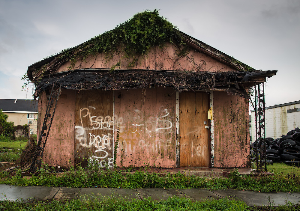 New Orleans LA, April, 12, 2015, A blighted house in New Orleans almost ten years after Hurricane Katrina.
