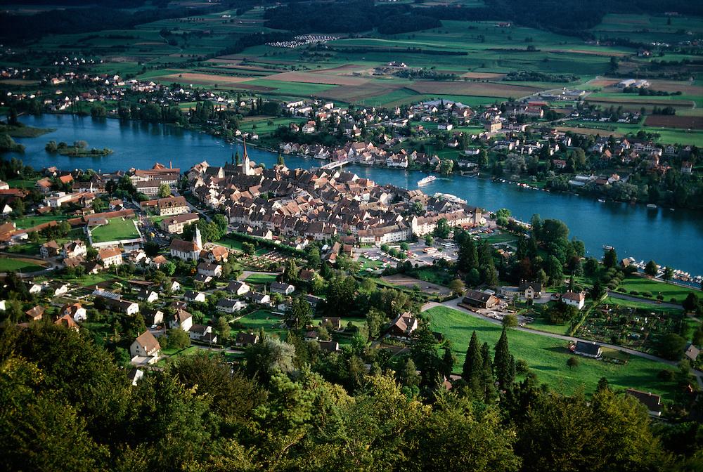 Switzerland, Overlooking town of Stein Am Rhein.