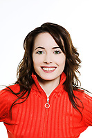 studio portrait on isolated background of a beautiful  caucasian expressive woman smiling