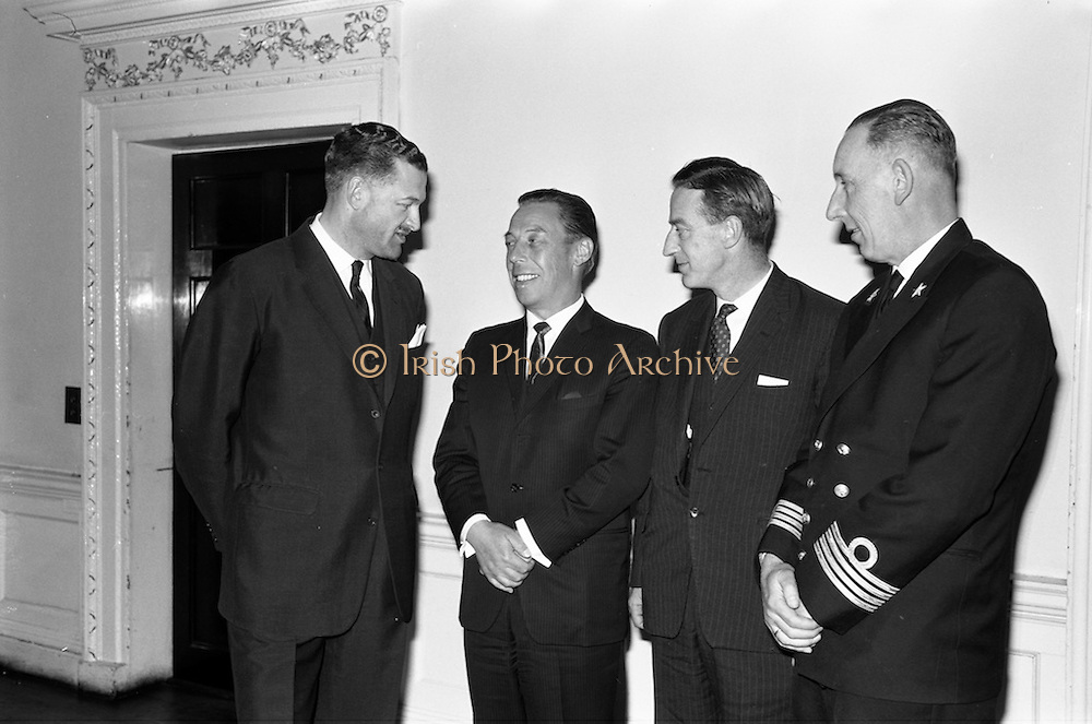 18/02/1963<br /> 02/18/1963<br /> 18 February 1963<br /> Caribbean Pioneer Line reception at the Shelbourne Hotel, Dublin. At the reception were (l-r): Mr G.W. Vimke, Joint Managing Director of H.V. Stoomboot -maatschappij Hillegersberg; Mr H. Walsh, General Manager of Coras Trachtala; Mr R.A. Burke and Captain A.M.N. Van den Broeke.