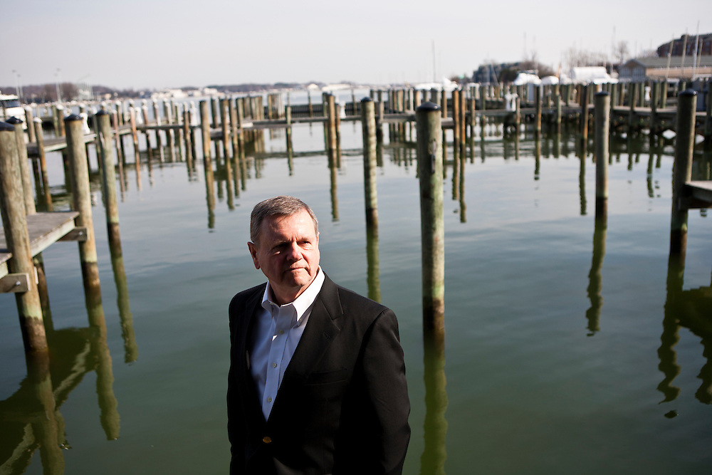 "Robert ""Willie"" Williamson, a retired navy admiral and president of The Severn Group, a cyber defense consultancy, poses for a portrait at the Annapolis Yacht Club on Friday, February 10, 2012 in Annapolis, MD. CREDIT: Brendan Hoffman/Prime for the Wall Street Journal.MMFUND"