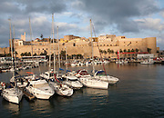 Yachts in harbour and old walled fortress Melilla la Vieja, Melilla, Spanish territory in north Africa, Spain