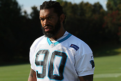 July 28, 2018 - Spartanburg, SC, U.S. - SPARTANBURG, SC - JULY 28: Julius Peppers (90) defensive end Carolina Panthers walks to the field for the third day of the Carolina Panthers training camp practice at Wofford College July 28, 2018 in Spartanburg, S.C. (Photo by John Byrum/Icon Sportswire) (Credit Image: © John Byrum/Icon SMI via ZUMA Press)
