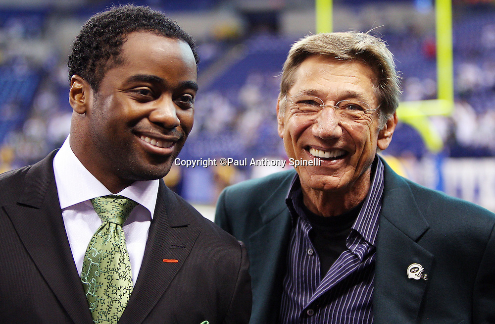 Former New York Jets quarterback Joe Namath (right) smiles with former Jets running back Curtis Martin at the current day New York Jets AFC Championship football game against the Indianapolis Colts, January 24, 2010 in Indianapolis, Indiana. The Colts won the game 30-17. ©Paul Anthony Spinelli