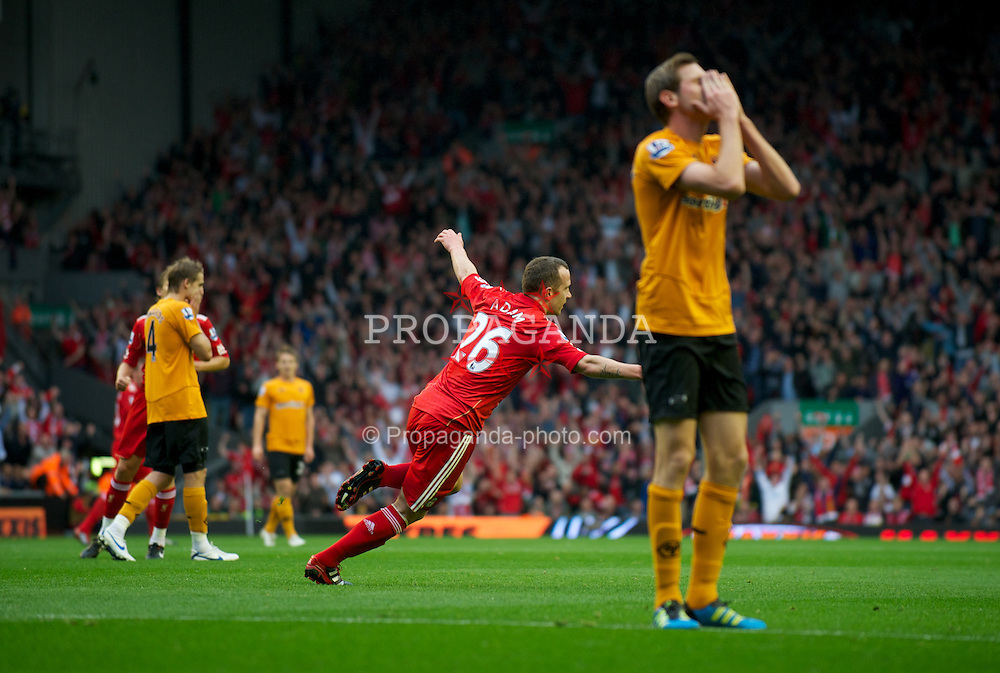 LIVERPOOL, ENGLAND - Saturday, September 24, 2011: Liverpool's Charlie Adam celebrates scoring the first goal against Wolverhampton Wanderers during the Premiership match at Anfield. (Pic by David Rawcliffe/Propaganda)