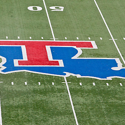 December 4, 2010; Ruston, LA, USA;  The Louisiana Tech Bulldogs logo displayed on the field at a game between the Louisiana Tech Bulldogs and the Nevada Wolf Pack at Joe Aillet Stadium.  Mandatory Credit: Derick E. Hingle