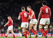 |Wales players celebrate Wales scrum half Gareth Davies' try during the Rugby World Cup Pool A match between England and Wales at Twickenham, Richmond, United Kingdom on 26 September 2015. Photo by David Charbit.