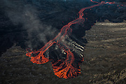 lava flow from erupting volcano in Holuhraun