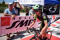 Kristabel Doebel-Hickok accelerates off the start ramp on Stage 5 of the Giro Rosa - a 12.7 km individual time trial, starting and finishing in Sant'Elpido A Mare on July 4, 2017, in Fermo, Italy. (Photo by Sean Robinson/Velofocus.com)