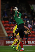 York City goalkeeper Adam Bartlett (1) takes a catch during the Vanarama National League match between York City and Chester FC at Bootham Crescent, York, England on 13 November 2018.