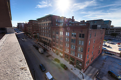 Rooftop of former Folgers Coffee plant, under conversion to Roaster's Block residential loft apartments by O'Reilly Development.