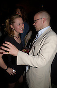 Toby Young and Telegraph gossip, 'How to lose Friends and alienate people' by Toby Young performed at the  Soho Theatre, party at Opium. 30 April 2003. © Copyright Photograph by Dafydd Jones 66 Stockwell Park Rd. London SW9 0DA Tel 020 7733 0108 www.dafjones.com