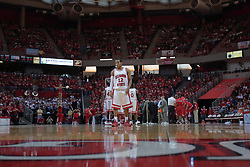 "31 January 2009: Lloyd Phillips takes a position in the close court waiting for the game to begin after a time out.  The Illinois State University Redbirds join the Bradley Braves in a tie for 2nd place in ""The Valley"" with a 69-65 win on Doug Collins Court inside Redbird Arena on the campus of Illinois State University in Normal Illinois"