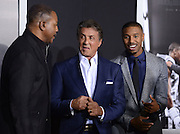 SYLVESTER STALLONE , CARL WEATHERS and MICHAEL B. JORDAN at the premiere of 'Creed' held at the Regency Village theatre.<br /> ©Exclusivepix Media