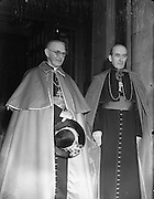 28/01/1953<br /> 01/28/1953<br /> 28 January 1953<br /> Cardinal John Dalton, Archbishop of Armagh and Primate of All Ireland,  returns from Rome where he was created  Cardinal Priest of S. Agata dei Goti by Pope Pius XII on the 12 of January. Picture shows the Cardinal  (left) with Archbishop John McQuaid.