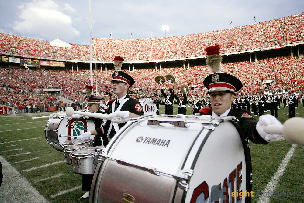 """The Ohio State Marching Band plays """"Script Ohio"""" on October 18, 2006 at Ohio Stadium in Columbus, Ohio before playing The Michigan Wolverines. The Buckeyes beat the Wolverines 42-39. Credit: Bryan Rinnert/3Sight Photography"""